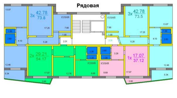 Варианты планировок квартир:
