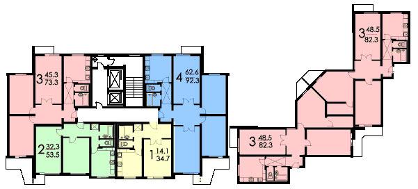 Серия домов П-3, все варианты типовых планировок П-3