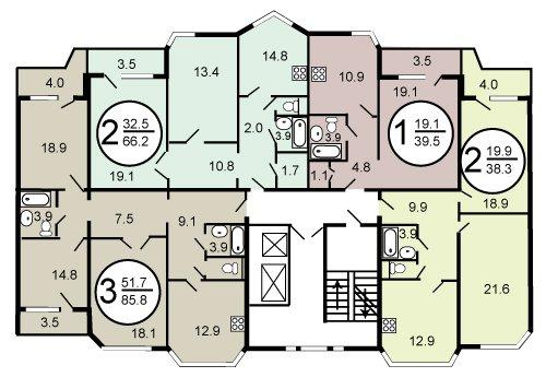 П-44тм модифицированная серия панельных домов, планировка П-44тм