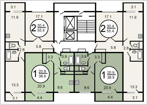 Планировка квартир П46м, описание серии домов П-46м