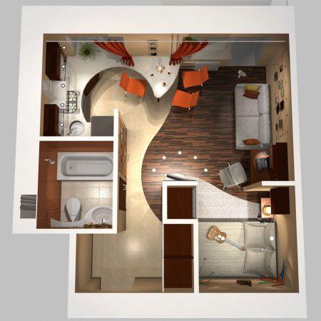 Дизайн-проект однокомнатной квартиры с зонами