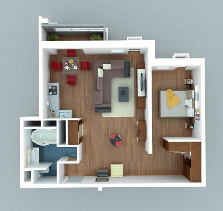 Варинт перепланировки однокомнатной квартиры