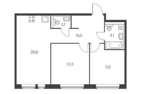 План двухкомнатной квартиры в доме серии ПИК 1