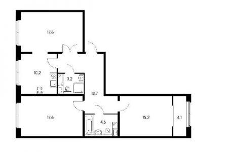 План трехкомнатной квартиры общей площадью 86,9 квадратных метров