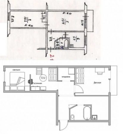 План двухкомнатной квартиры чулка