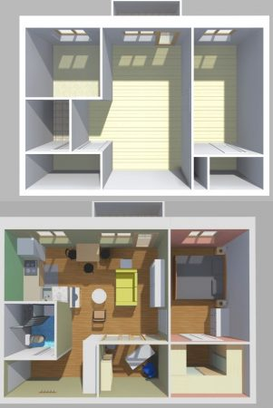 Вариант перепланировки двухкомнатной квартиры