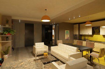 Дизайн квартиры студии, сделанной из двушки