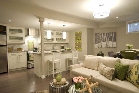 Совмещение гостиной с кухней
