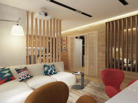 Зонирование пространства в квартире с помощью бамбуковых перегородок