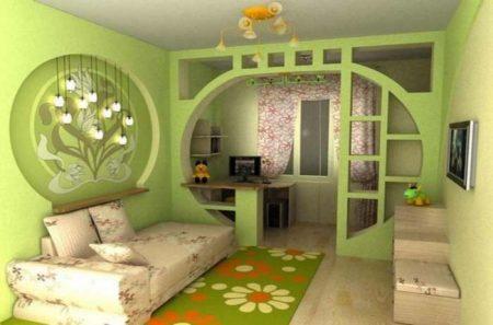 Дизайн комнаты в зеленых тонах
