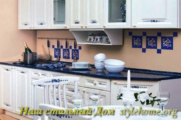 создание кухни в стиле гжель