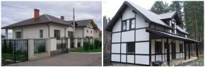 Фотографии двух каркасно-панельных домов: слева - одноэтажный, справа - мансардный