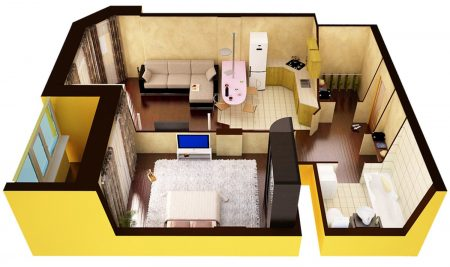 Проект перепланировки однокомнатной квартиры