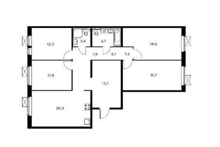Типовая планировка ПИК 1 четырехкомнатной квартиры