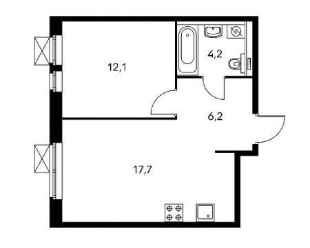 План однокомнатной квартиры площадью 40,2 квадратных метров
