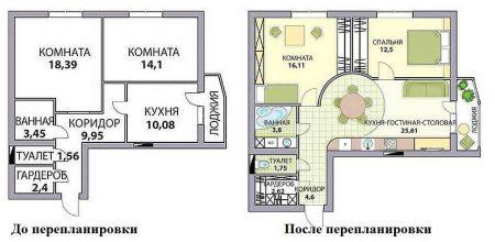 Пример двухкомнатной квартиры до и после перепланировки
