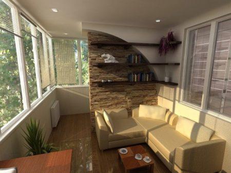 Дизайн гостиной, обустроенной на лоджии