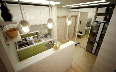 Дизайн прихожей и кухонной зоны