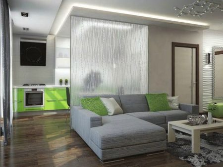 Разделение гостиной и кухни в квартире