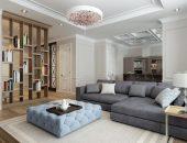 Дизайн гостиной в серых тонах с перегородкой