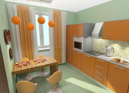 Дизайн маленькой кухни в оранжевых тонах