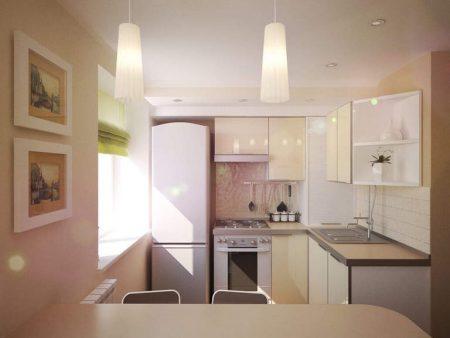 Дизайн-проект небольшой кухни в светлых тонах