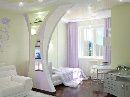 Зонирование спальни и гостиной с помощью перегородки из гипсокартона