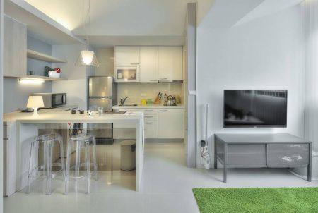 Квартира-студия с П-образной кухней
