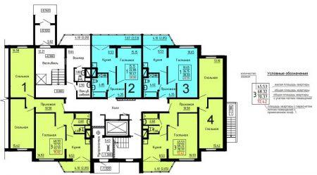Типовая планировка этажа в домах серии ДОММОС