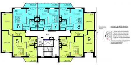 Стандартная планировка этажа в доме серии ДОММОС