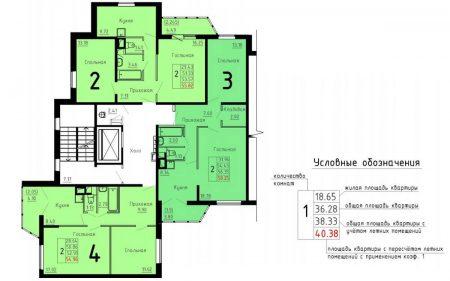 Типовая планировка этажа ДОММОС с двухкомнатными кватирами