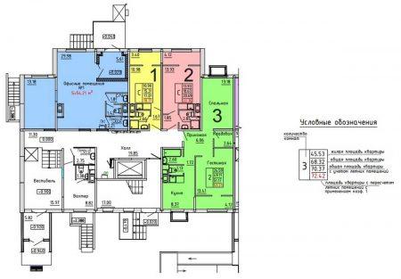 Планировка этажа с двукомнатными квартирами и студиями
