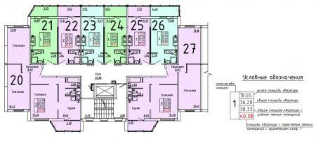Типовое размещение трехкомнатных квартир и студий на этаже