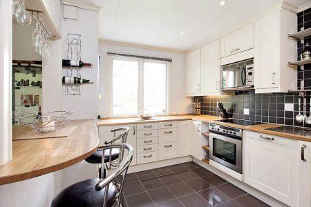 Дизайн большой П-образной кухни белого цвета с черным полом
