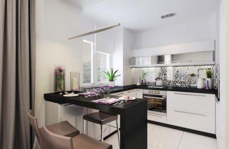 Дизайн П-образной черно-белой кухни