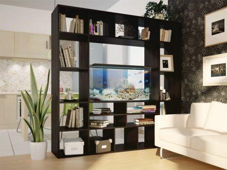 Зонирование комнаты с помощью стеллажа