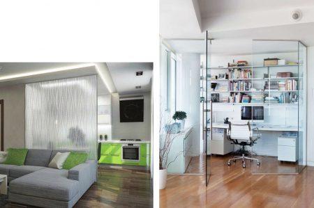 Зонирование пространства в квартире с помощью стеклянных перегородок