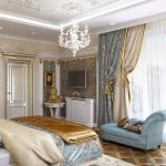 Двойные шторы в интерьере классической спальни