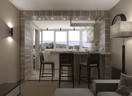 Кухня на лоджии в квартире-студии