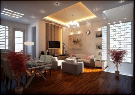 Дизайн квартиры-студии с точечным освещением