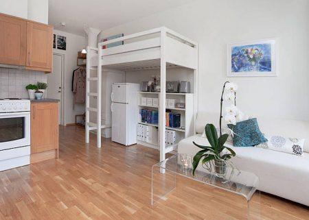 Пример зонирования в квартире-студии