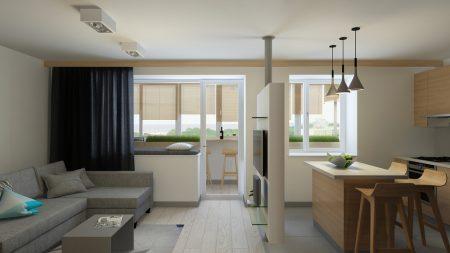 Идея планировки квартиры-студии в светлых тонах с мебелью серого и коричневого цвета