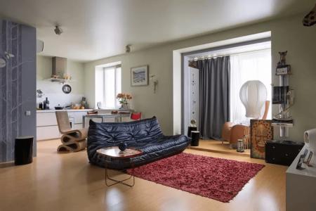 Зона для отдыха и гостей в квартире-студии