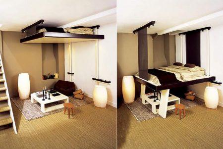 Подвесная кровать в квартире-студии