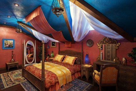 Арабская спальня с синим потолком