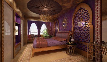 Спальня в восточном стиле с драпировкой на потолке