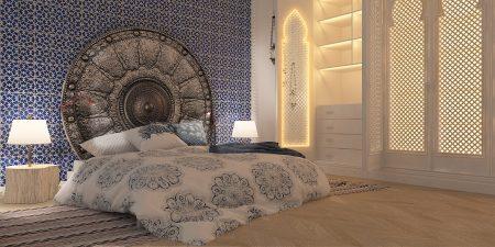 Спальня в восточном стиле со встроенной мебелью