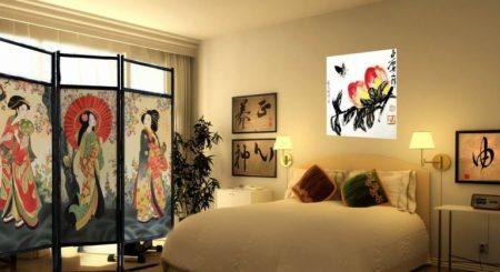 Спальня в восточном стиле с ширмой
