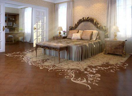 Узор на полу классической спальни