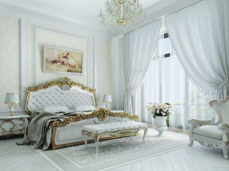 Классическая спальня в белом цвете с золотом